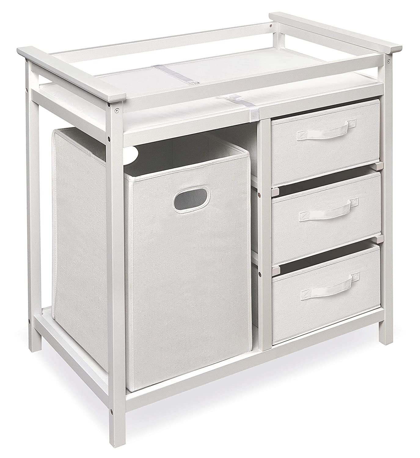 and Pad 3 Storage Baskets Modern Baby Changing Table with Laundry Hamper