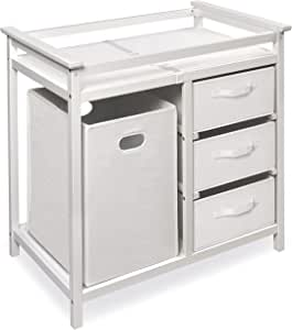 Badger Basket Modern Baby Changing Table with Hamper and 3 Baskets, White/White, 16.329 Pounds