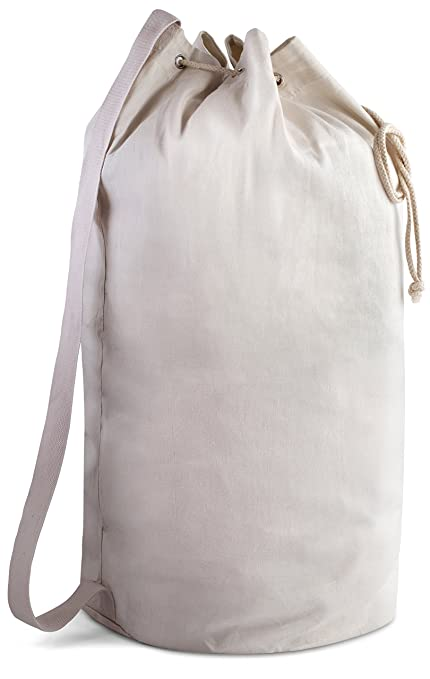 538c7fc01f28ea Canvas Duffel Bag - Drawstring with Leather Closure and Shoulder Strap for  Easy Carrying. The