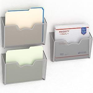 3 Pack - SimpleHouseware Wall Mount Single Pocket File Organizer Holder, Silver
