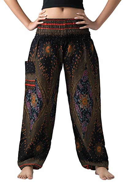 f8c187e331237 Bangkokpants Women's Boho Pants Hippie Clothes Yoga Outfits Peacock Design  One Size Fits (Black)