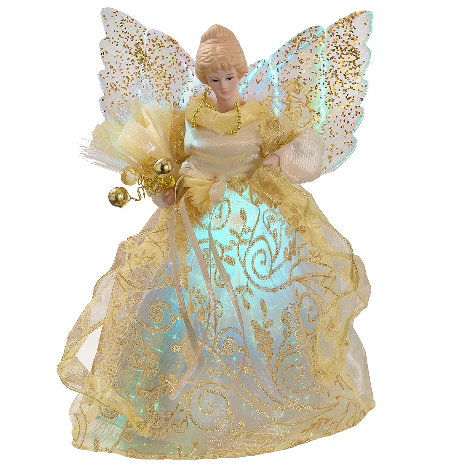 Werchristmas Fibre Optic Christmas Tree Topper Angel 25 Cm Gold