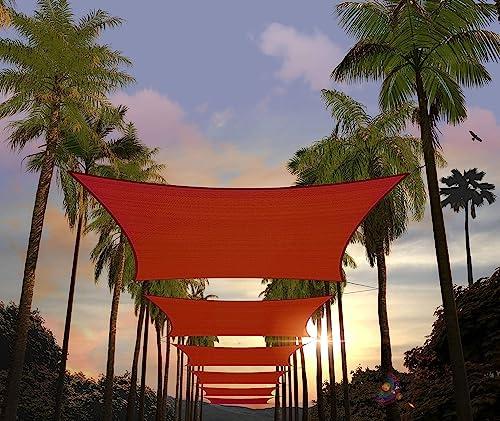 Amgo Custom Size 18' x 24' Red Rectangle Sun Shade Sail ATAPR1620 Canopy Awning