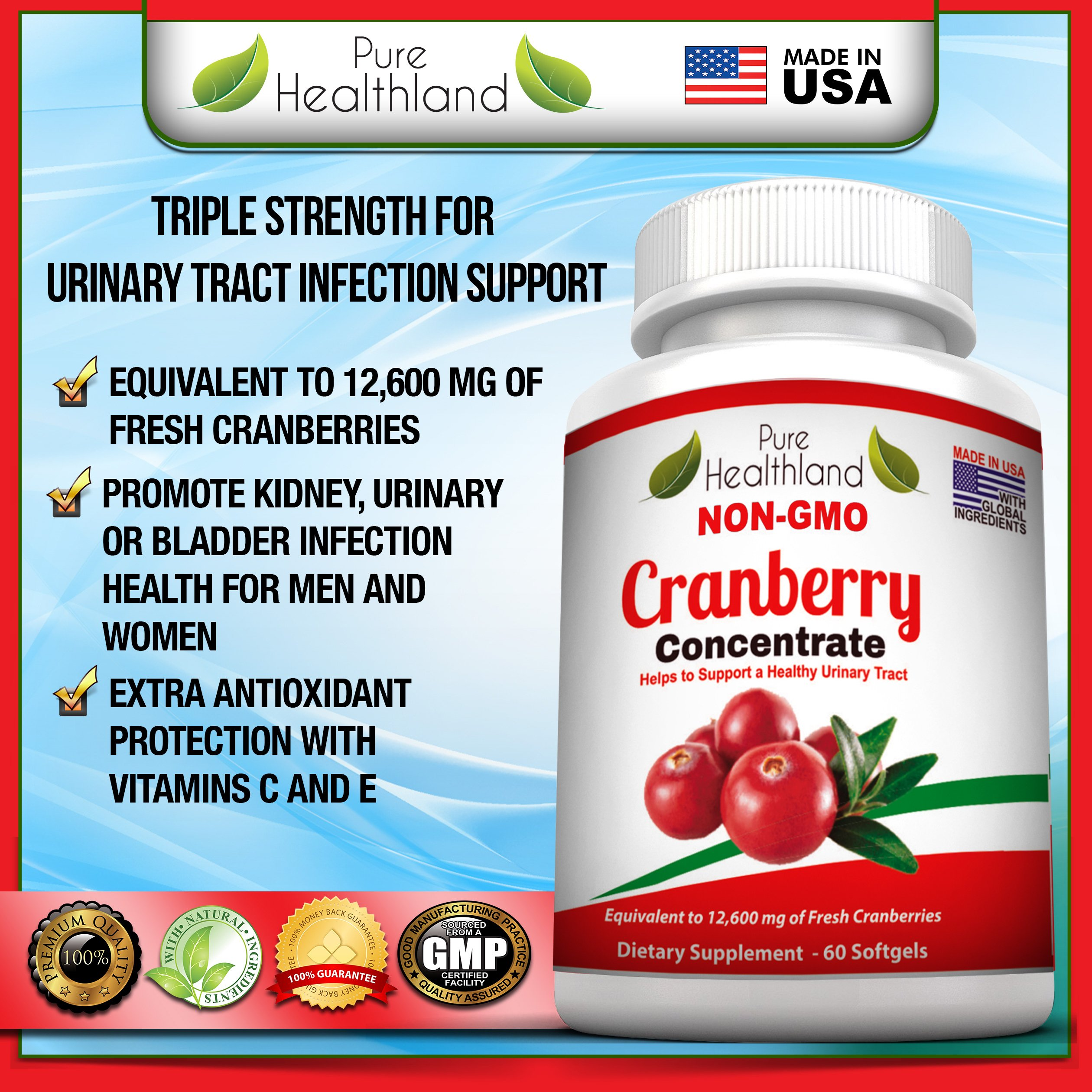 Non GMO Cranberry Concentrate Supplement Pills for Urinary Tract Infection UTI. Equals 12600mg Cranberries. Triple Strength Kidney Bladder Health for Men & Women. Easy to Swallow Softgels, 6 Bottles by Pure Healthland (Image #8)