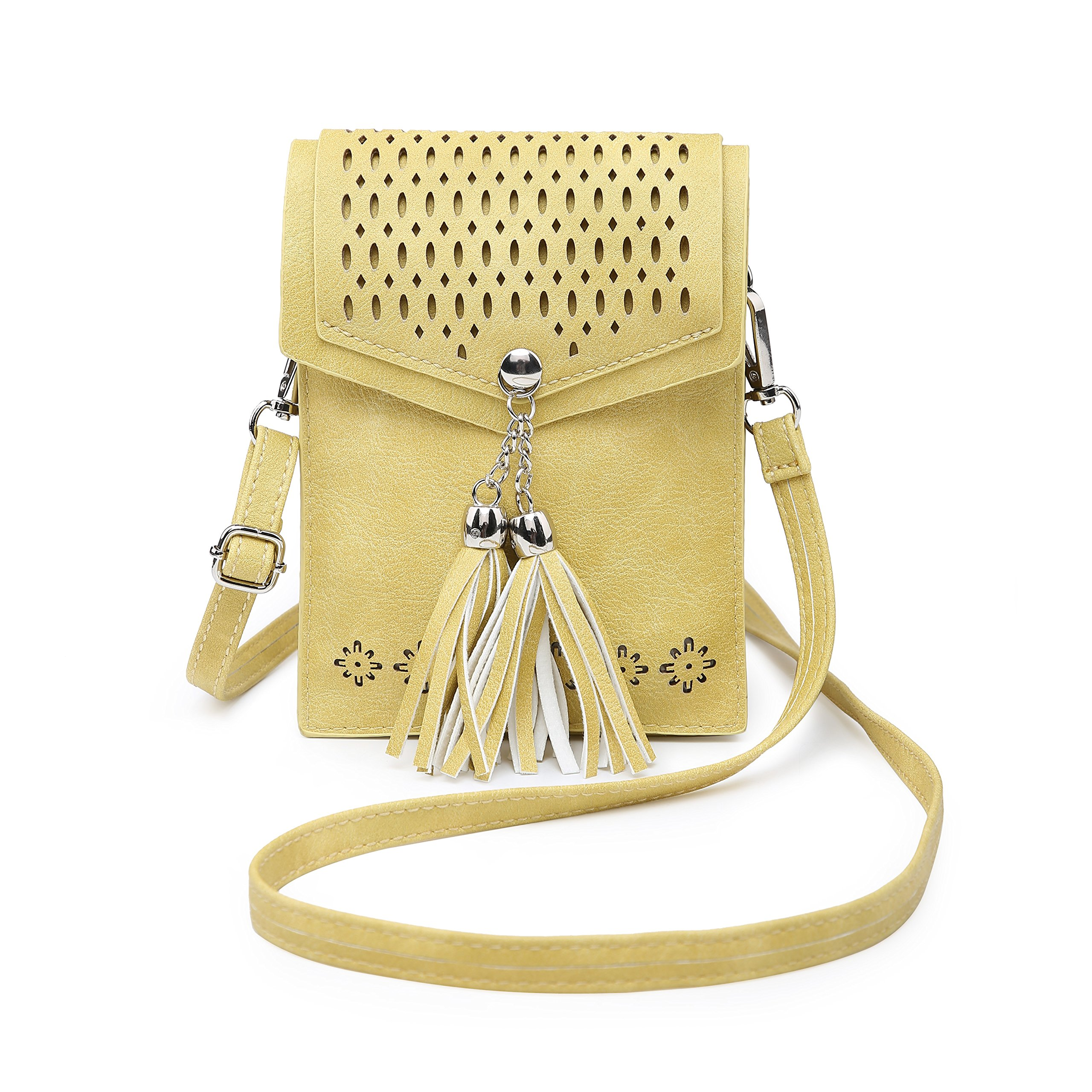 Women Small Crossbody Bag, seOSTO Tassel Cell Phone Purse Wallet Bags (Yellow) by seOSTO