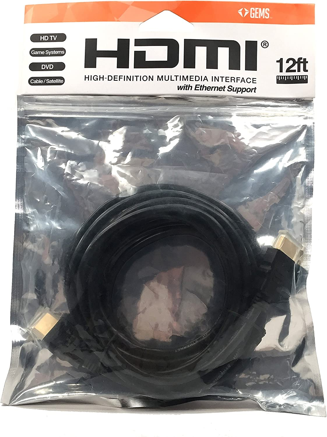 Gems 12ft HDMI Cable High-Speed Supports 4K Ethernet 3D and Audio Return