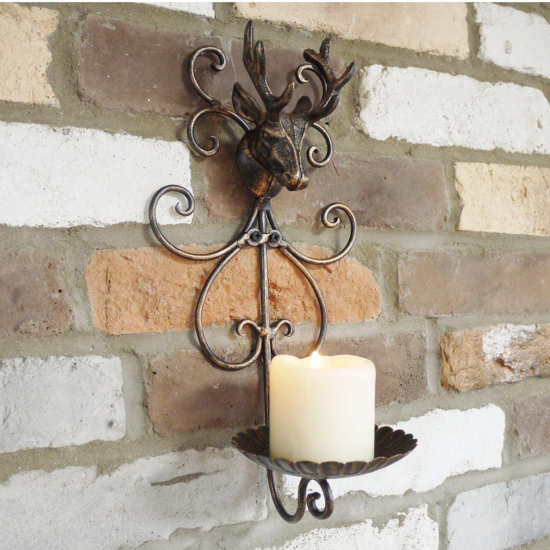 Cast Iron Wall Mounted Stags Head Deer Antlers Tea Light Pillar Candle Plate Holder Giftwarez