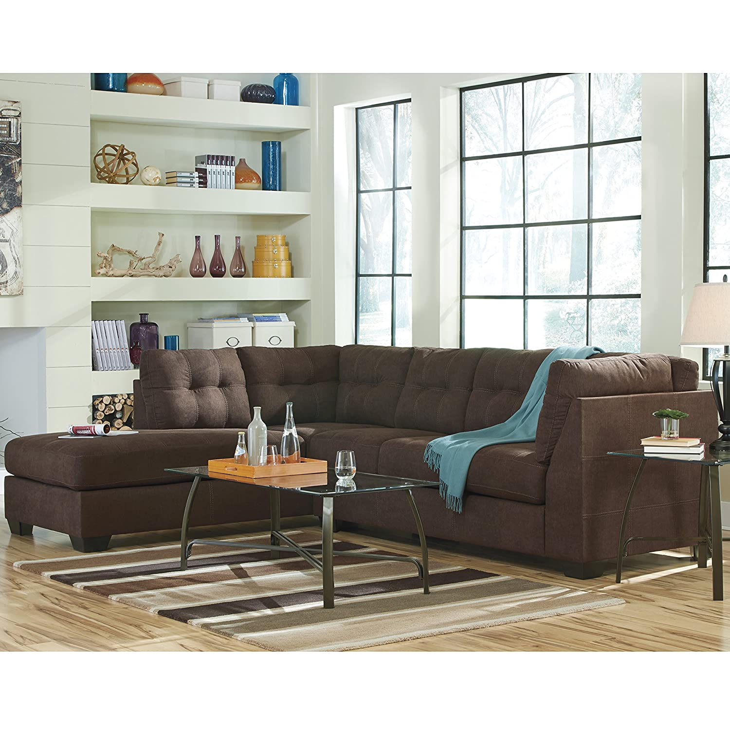 Amazon com flash furniture benchcraft maier sectional with left side facing chaise in walnut microfiber kitchen dining