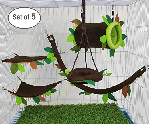 Exotic Pet CAGE Set !! 5 Pcs Cute Little Exotic Pets Sugar Glider Hedgehog Hamster Squirrel Critter Pouches Rope Hanging Sheet Cage Set