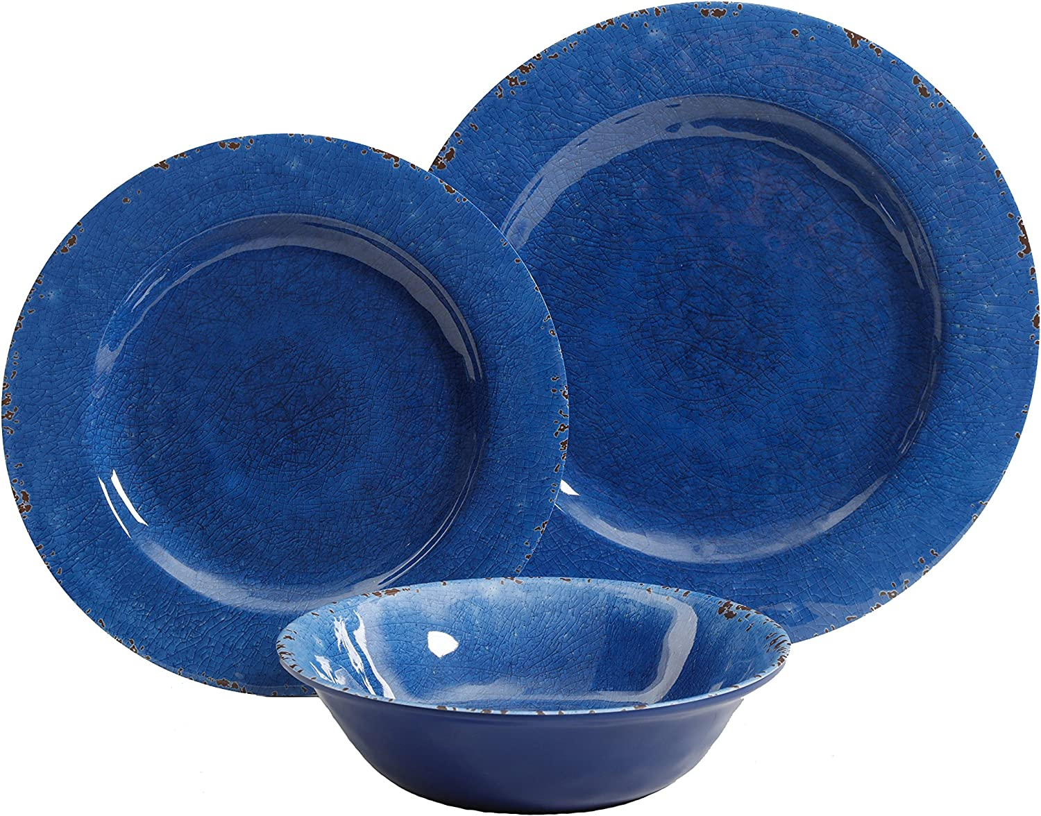 Gibson Home Mauna Round Heavy Weight Melamine Dinnerware Set, Service for Four (12pcs), Cobalt Rustic