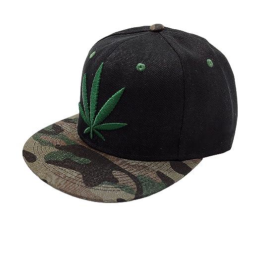 Silfrae Adjustable Unisex Caps Base Ball Cap (54-60cm, Flat Bill Green Marijuana Leaf)