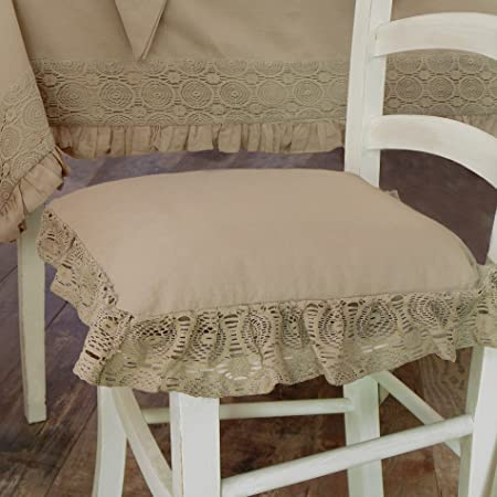 AT17 Cuscino per Sedia Shabby Chic Madame Beige Collection