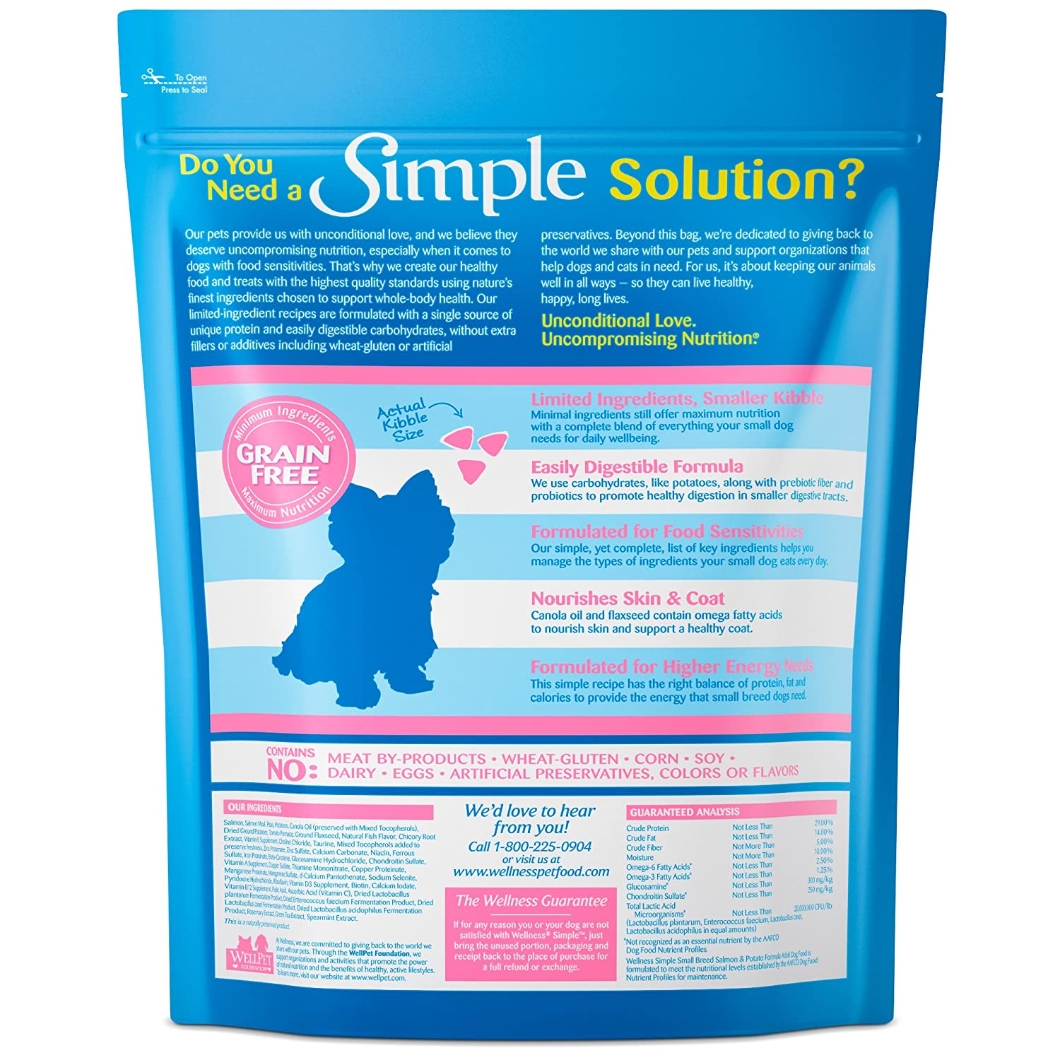 Amazon: Wellness Simple Natural Grain Free Dry Limited Ingredient Small  Breed Dog Food, Salmon & Potato, 45pound Bag: Pet Supplies