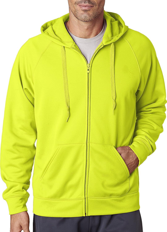 Saftey vert XXL Jerzees pour Homme 6 G Sport Tech en Polaire zippé Hood (Pf93mr)