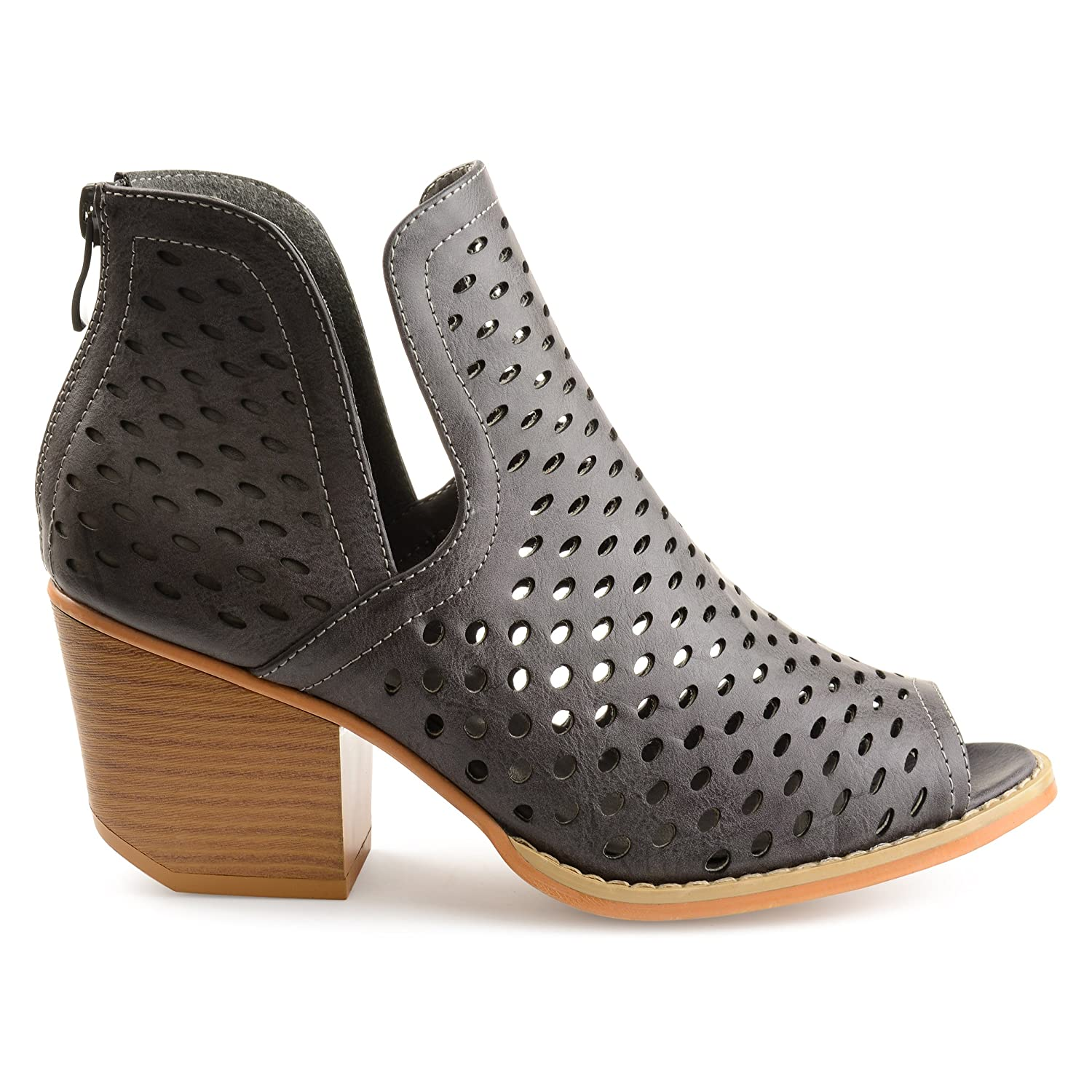 Womens Abrail Faux Leather Side-Slit Open-Toe Perforated Booties