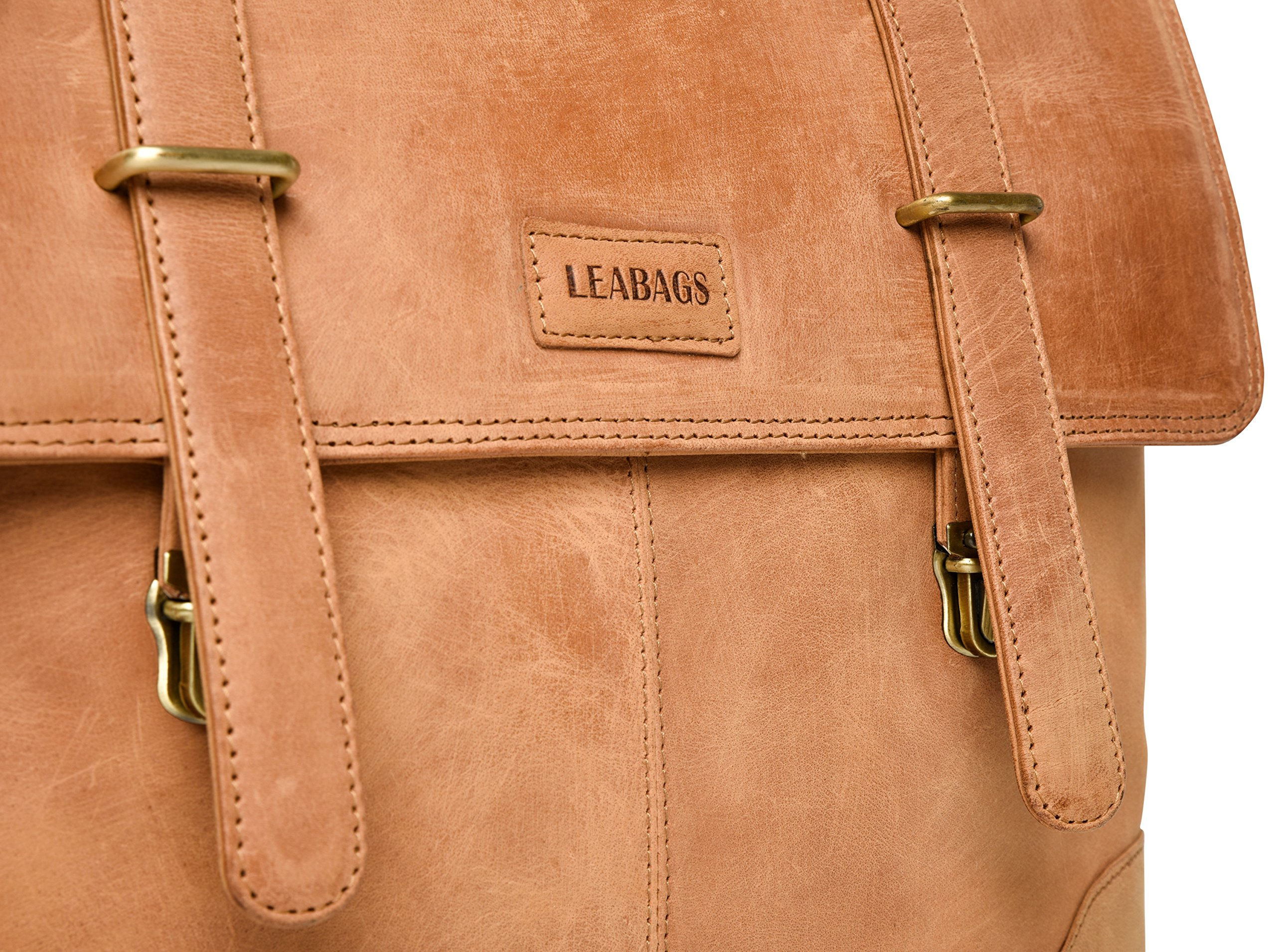 LEABAGS Liverpool genuine buffalo leather briefcase in vintage style - Brown by LEABAGS (Image #10)