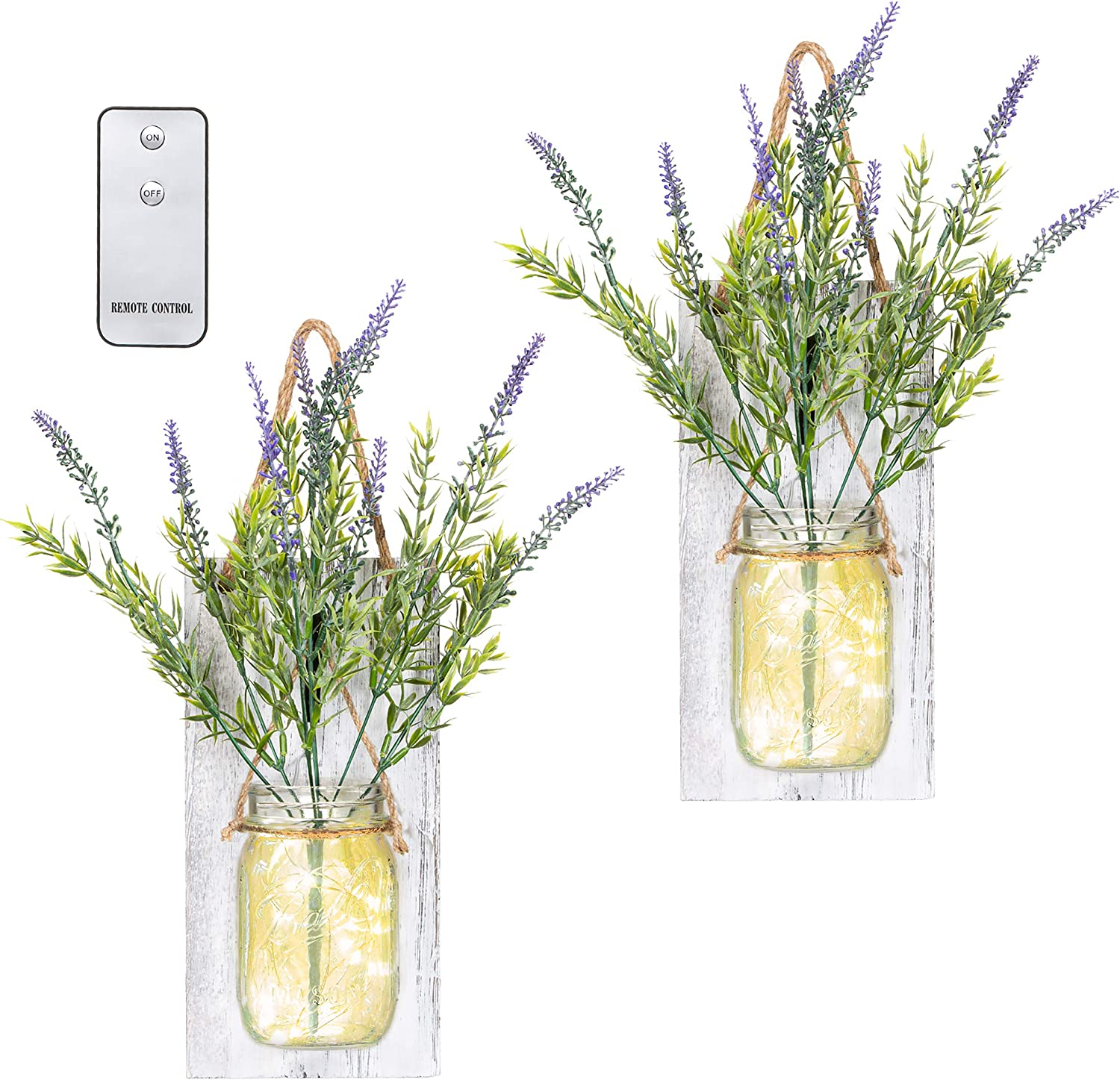 TenXVI Designs Remote Controlled Hanging Mason Jar Sconces - Set of 2 - Lavender Flowers, LED Fairy Lights and Wrought Iron Hooks – Shabby Chic Decoration or Farmhouse Wall Decoration