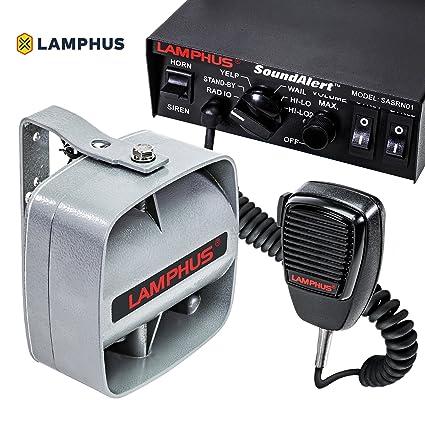 amazon com lamphus soundalert siren & slim speaker pa system [100w 4 pin microphone wiring diagrams lamphus soundalert siren & slim speaker pa system [100w] [6 modes] [