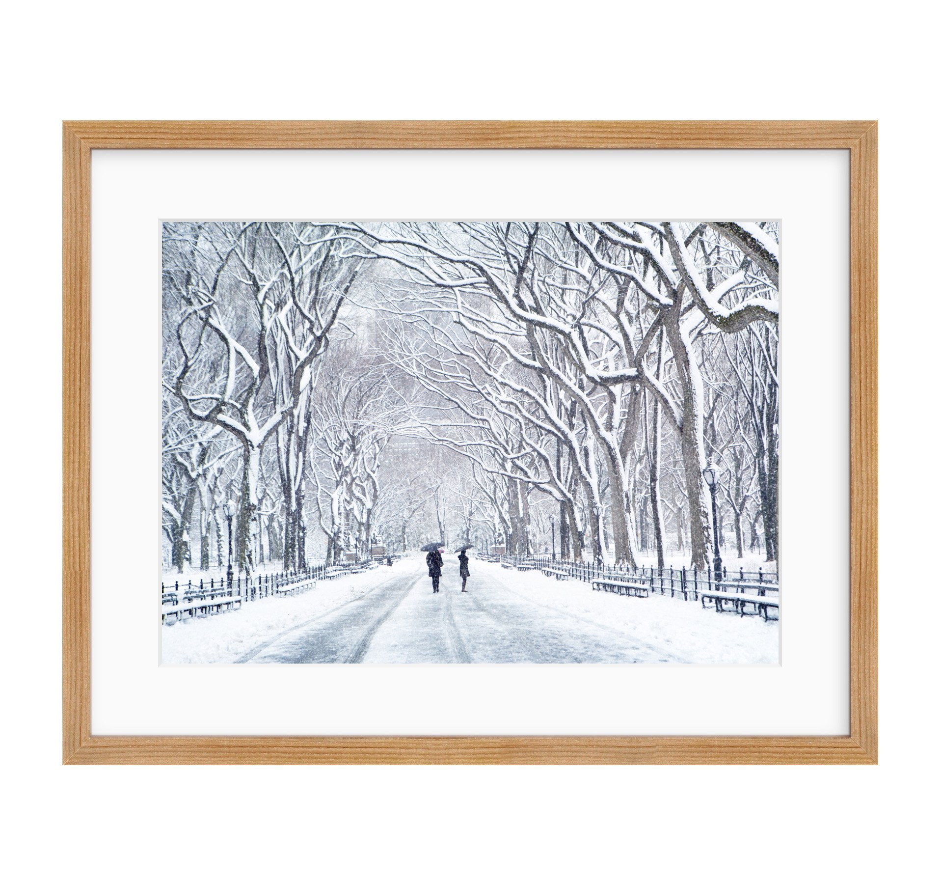 Framed Photographic Print, New York City Wall Art, Central Park in Snow, NYC Decor, The Mall in Winter'