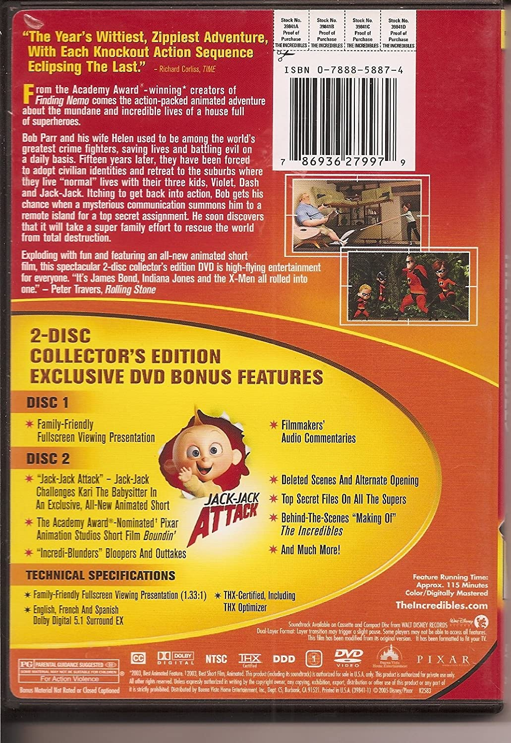The Incredibles Full Screen Two-Disc Collector\'s Edition Bilingual ...