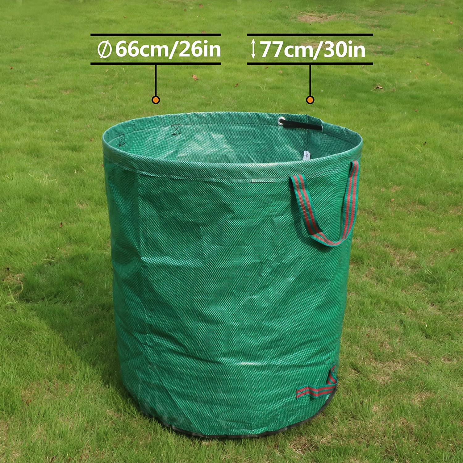 FLORA GUARD 3-Pack 72 Gallons Garden Waste Bags Heavy Duty Compost Bags with Handles