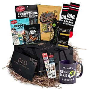 Unique Gift Box for Fathers Day - Celebrate Him with a Heartwarming Father's Day Gift Basket / Dads Birthday Basket   Men Gift Baskets For Dad is Absolute Way to His Heart from Kids, Daughter, or Son