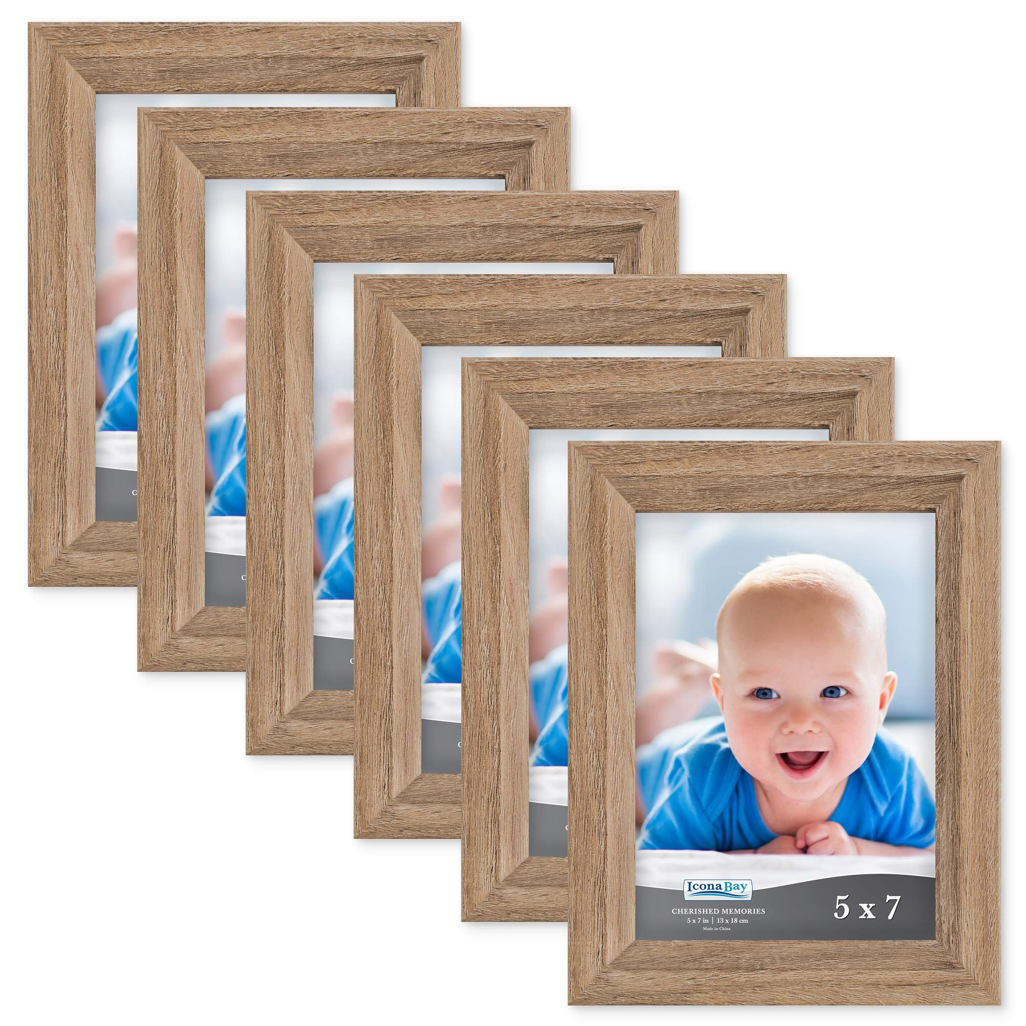 Icona Bay 5x7 Picture Frame (6 Pack, Dark Oak Wood Finish), Photo Frame 5 x 7, Composite Wood Frame for Walls or Tables, Set of 6 Cherished Memories Collection by Icona Bay