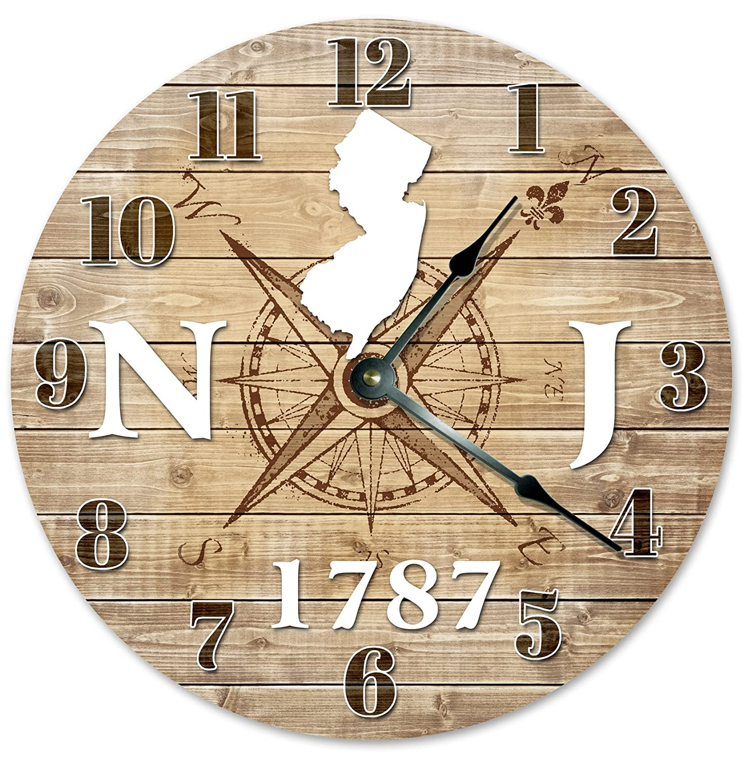 Large 10.5 Wall Clock MISSISSIPPI STATE HOME CLOCK Black and White Rustic Clock