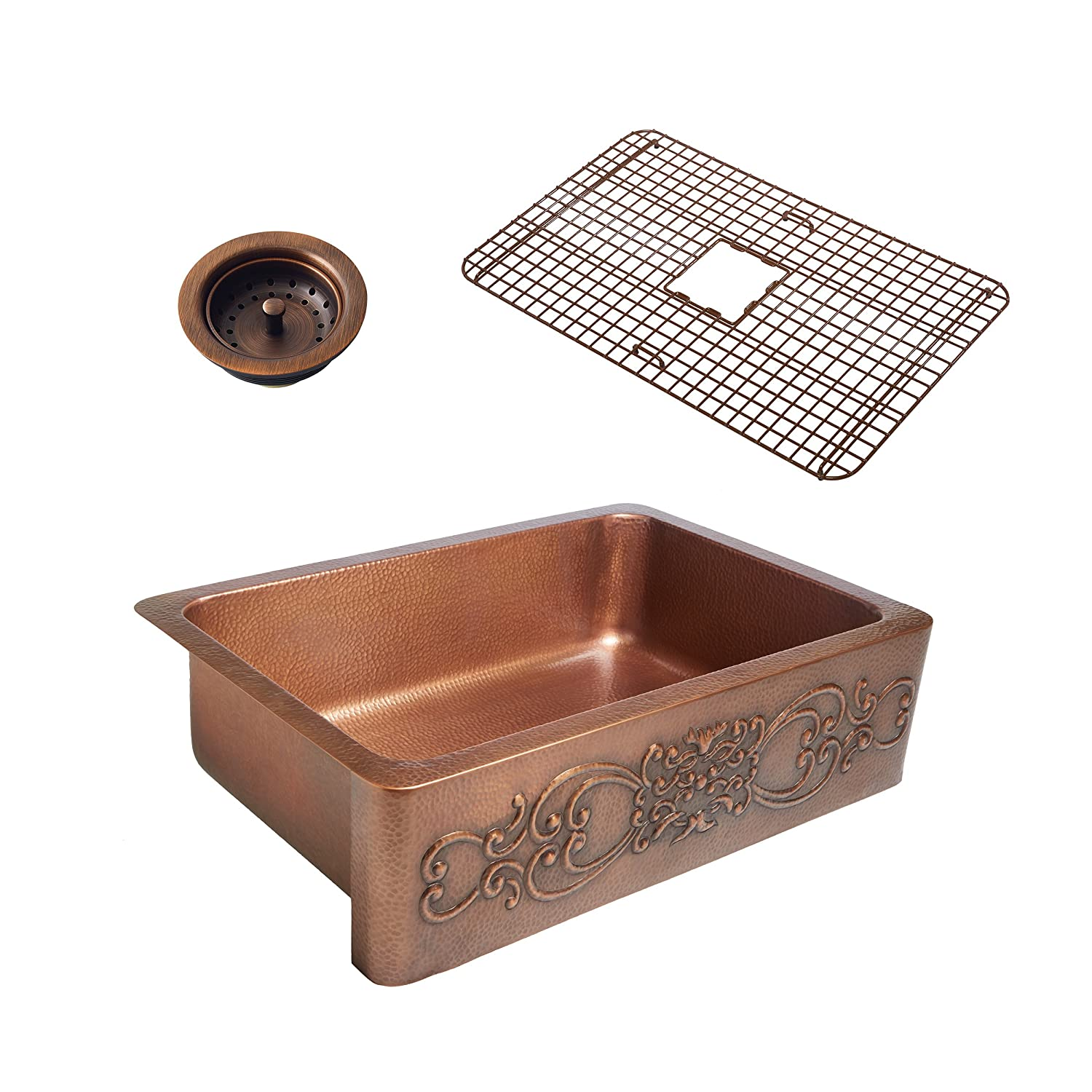 Sinkology SK303-33SC-WG-B Ganku Copper Kitchen Sink