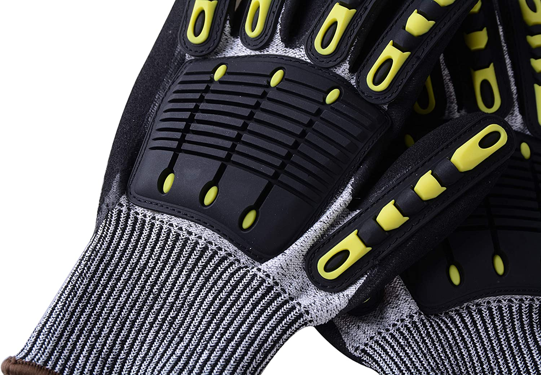 UNINOVA Cut Resistant Gloves Shockproof Hand Protection(M) Mechanic Work Gloves Level 5 Nitrile Coating