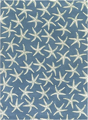 Surya Lighthouse LTH-7006 Coastal Hand Tufted 100 Wool Night Sky 8' x 11' Area Rug