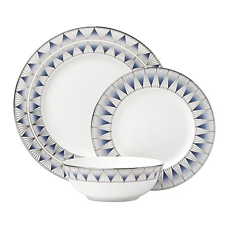 Lenox 869063 3 Piece Geodesia Place Setting Dinnerware Set, Blue