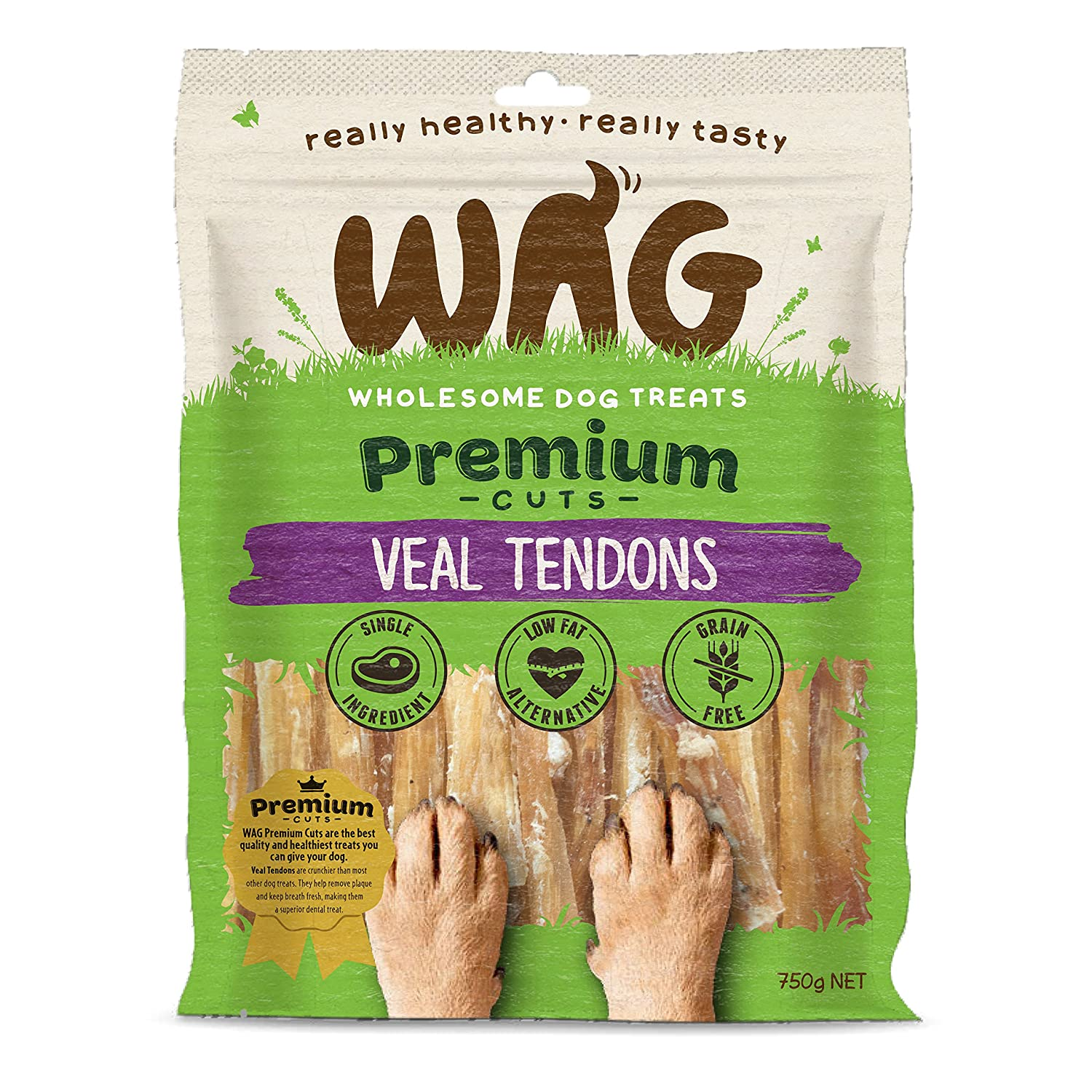750g WAG Veal Tendons 750g, Grain Free Hypoallergenic Natural New Zealand Made Dog Treat Chew, Perfect for All Sizes & Breeds