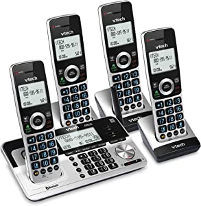 "VTech VS113-4 Extended Range 4 Handset Cordless Phone for Home with Call Blocking, Connect to Cell Bluetooth, 2"" Backlit Screen, Big Buttons, and Answering System, Silver & Black"