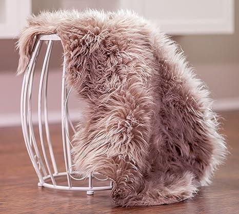 Chanasya Super Soft Faux Fur Fake Sheepskin Brown Sofa Couch Stool Casper  Vanity Chair Cover Rug