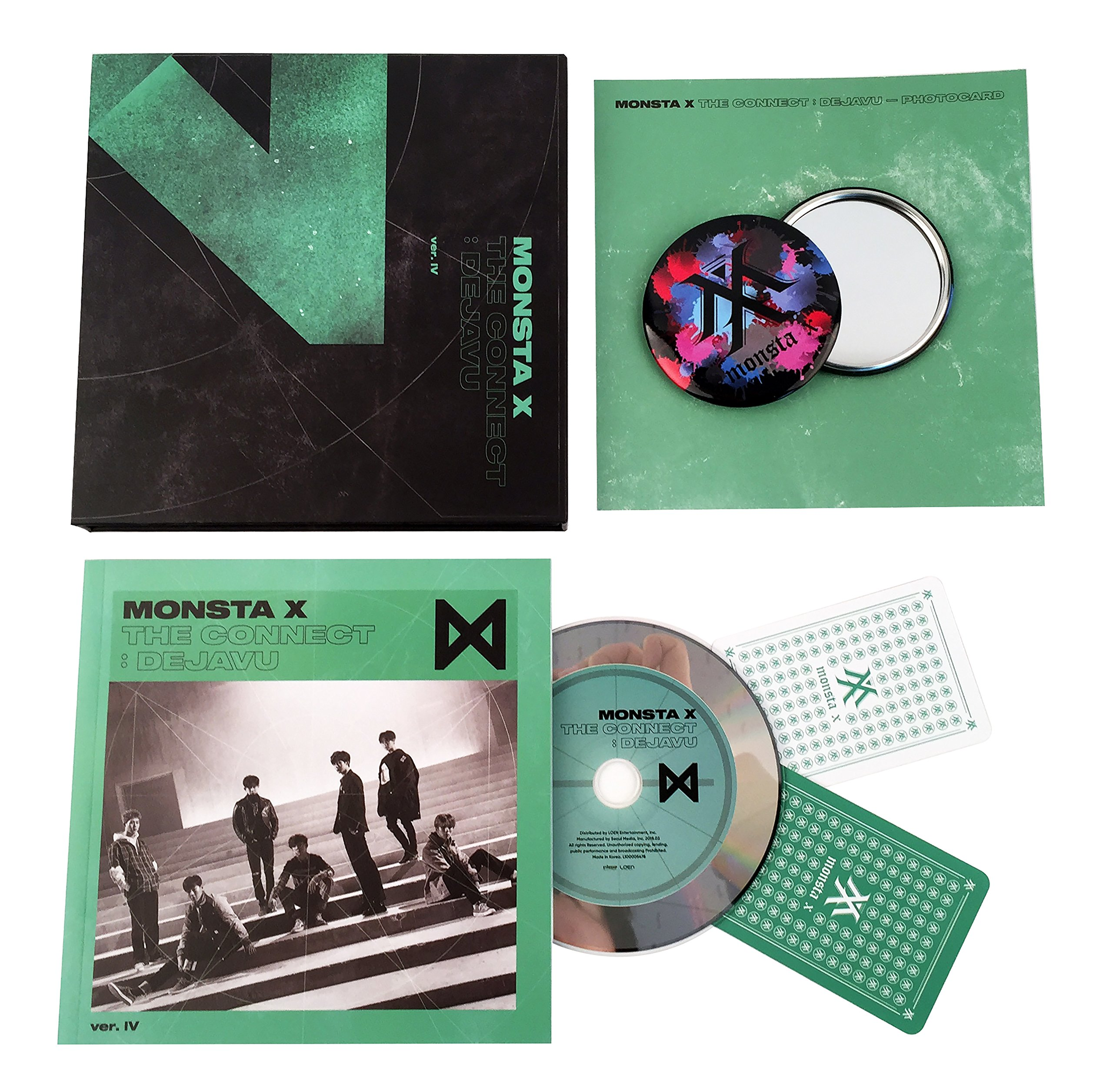 THE CONNECT : DEJAVU [ Ver. IV ] - MONSTA X Album CD + Booklet + 2 Photocards + FREE GIFT / K-POP Sealed by Loen