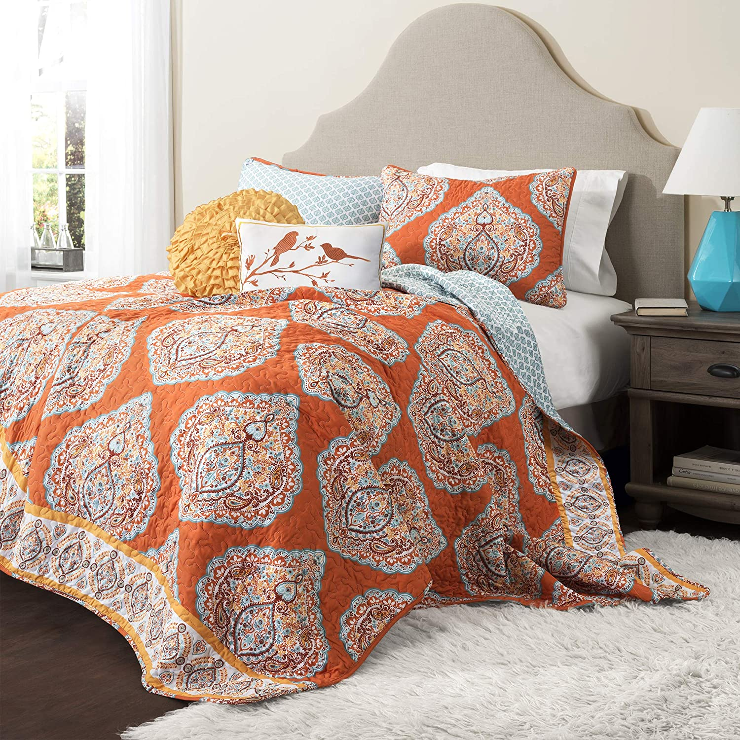 Lush Décor Harley Quilt Damask Pattern Reversible 5 Piece Bedding Set King, Tangerine