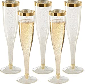 Plastic Champagne Flutes Disposable - Gold Glitter with a Gold Rim - Elegant Stylish Premium Toasting Flutes - Perfect for Mimosa Bar, Weddings Anniversaries and Catered Events [1 Box of 36 ] 6.5 Oz