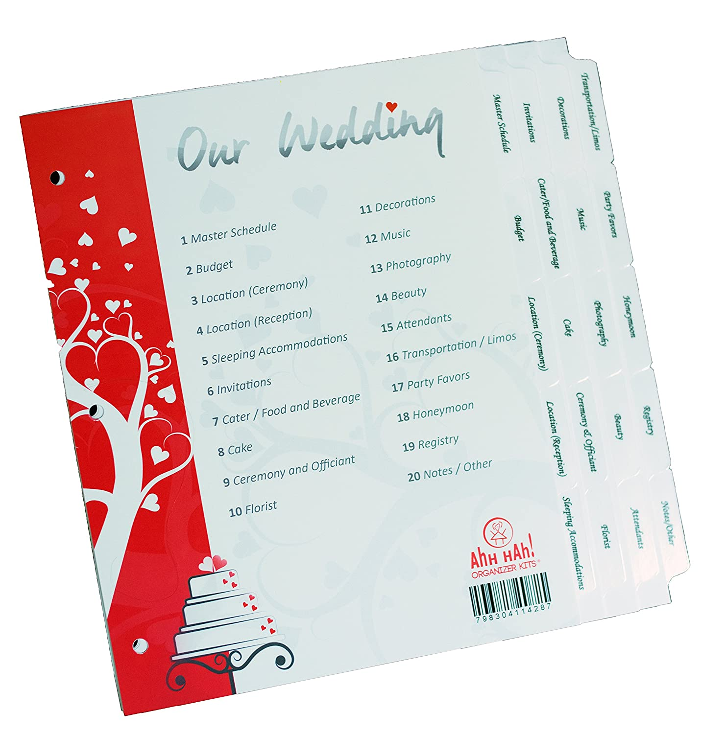 Ahh Hah! Wedding Kit Organizer: Pre-printed Index Tabs for Three Ring Binder