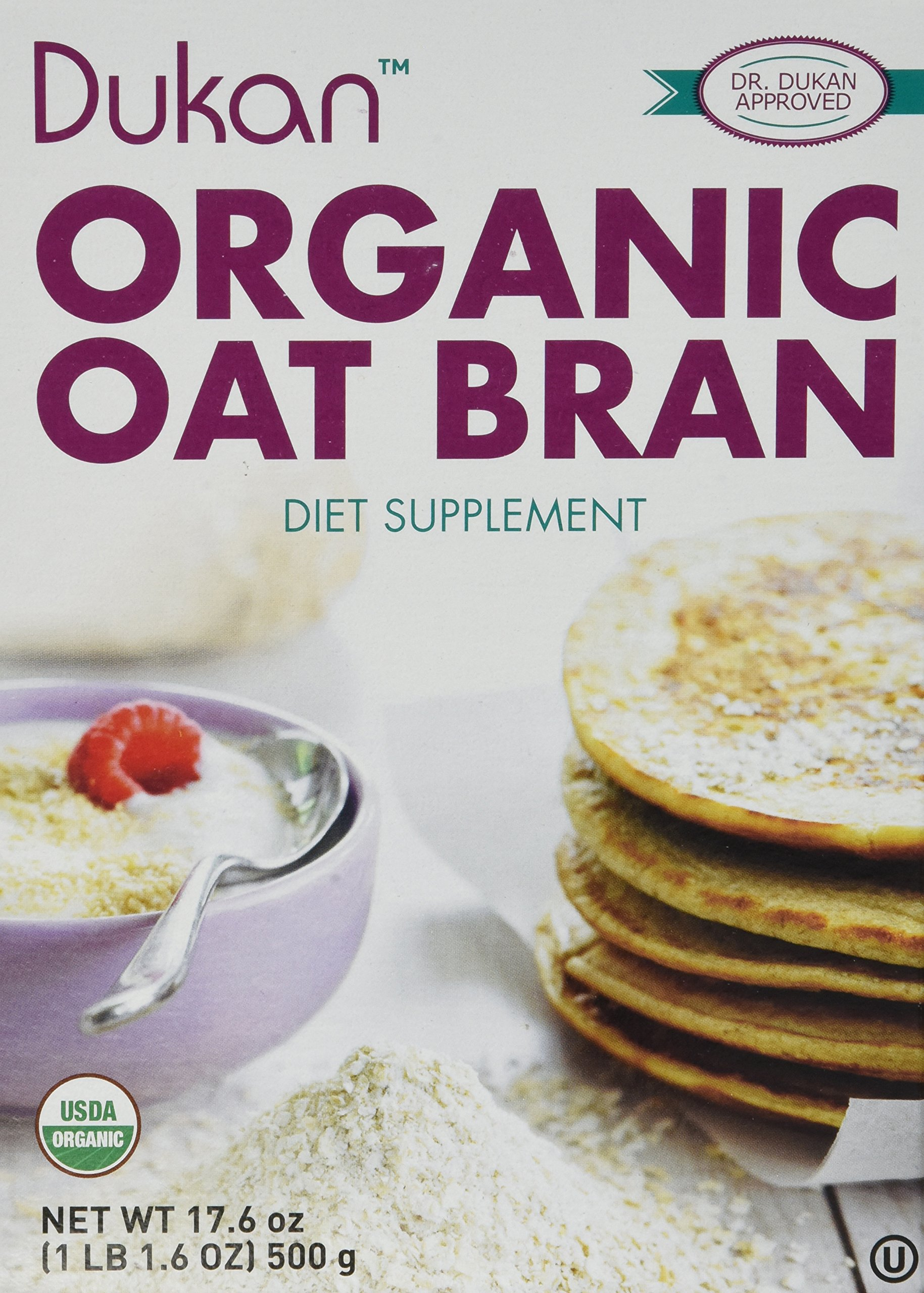 Dukan Diet Organic Oat Bran 4-Pack – Kosher - 4 Pack - 17.6 oz. per box