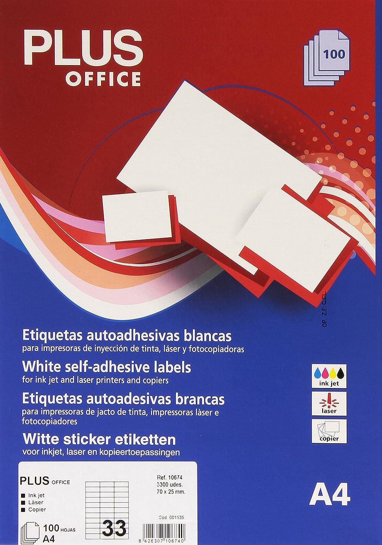 Plus Office 10674, perfilata, 3600 etichette auto-adesive, 70 x 25mm, colore: bianco Makro Paper SP.SL