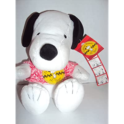 "Peanuts Celebrate 60 Years 1970's Decade 6"" Sitting Plush Snoopy Wearing Tie Dye Shirt: Toys & Games"