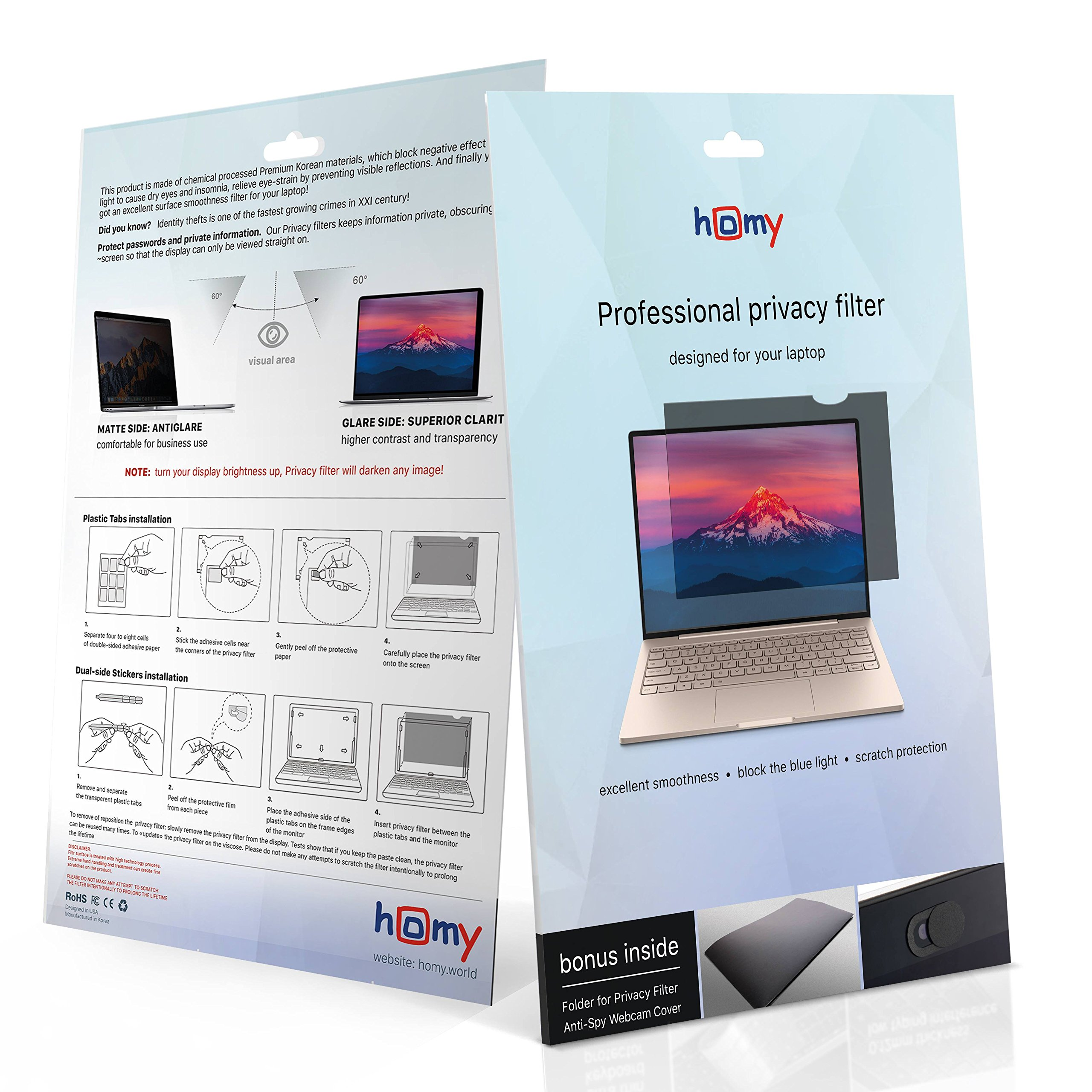 Homy Laptop Privacy Filter Compatible with 14.0 Inch Widescreen (12.2 x 6.9 in) - Anti-spy Screen Protector for Widescreen Laptops Matte Surface Storage Folder & Anti Spy Web Camera Cover. by Homy international (Image #7)
