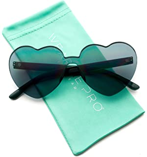 Amazon.com: Love Heart Shape Sunglasses Women Rimless Frame ...