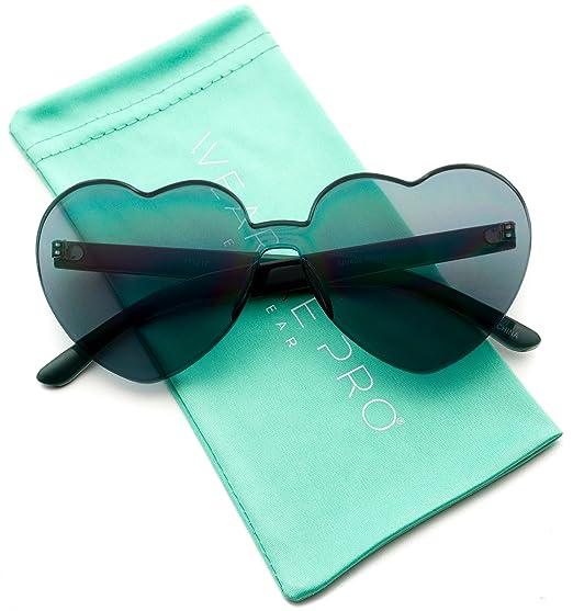 bd2fdec738b WearMe Pro - Heart Shaped Full Lens Transparent Colored Sunglasses (Black