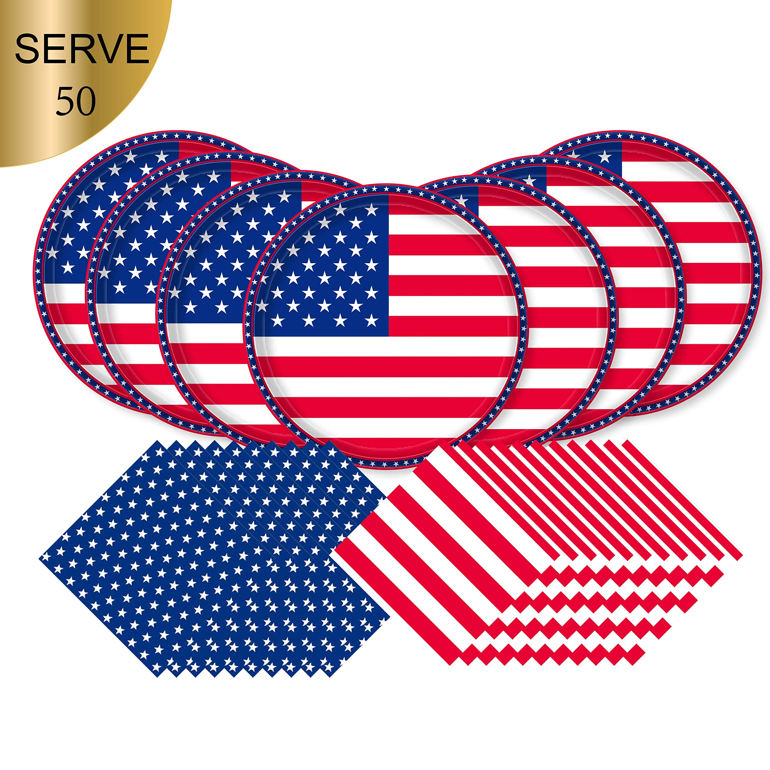 American Flag Patriotic Paper Tableware Set- 150 Pieces - Including Napkins, 10'' Big Paper Dinner Plates and Napkins for Veterans day, Election day