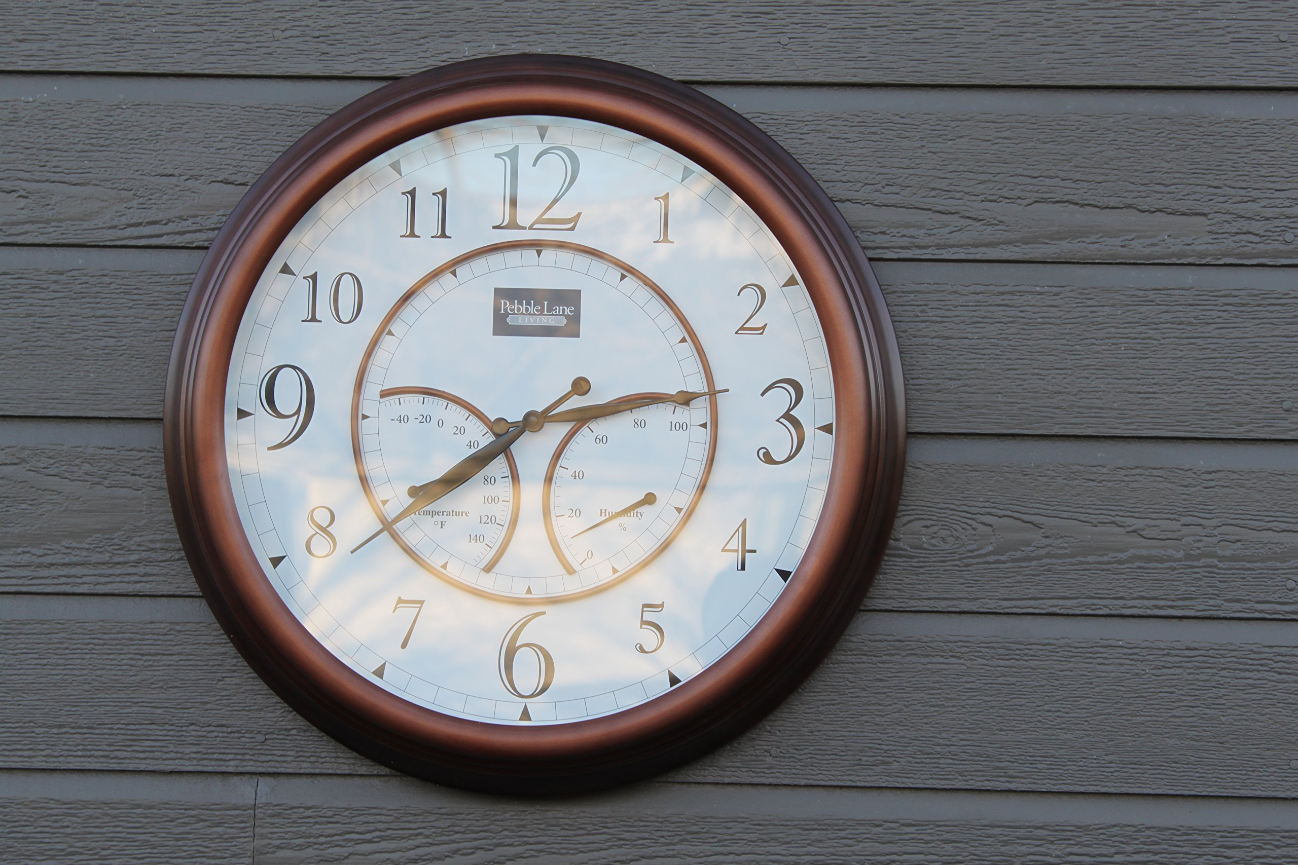 Oxford Outdoor Waterproof Clock with Thermometer and Hydrometer- Pebble Lane Living (24'')