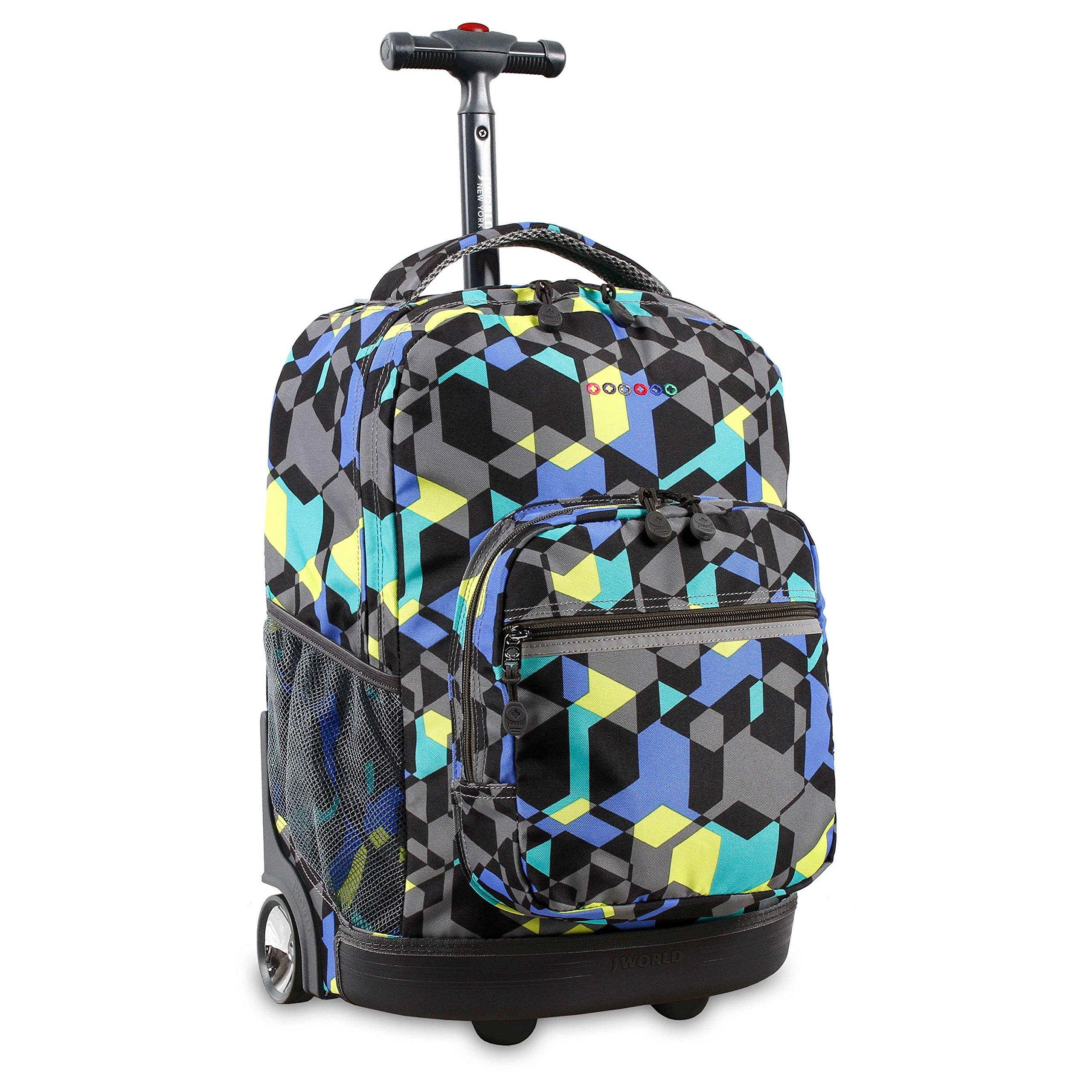 J World New York Sunrise Rolling Backpack, Cubes