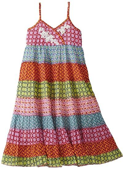 858999b0b4d2 MIMI & MAGGIE Big Girls' Scattered Flowers Dress, Multi, Medium(10 ...