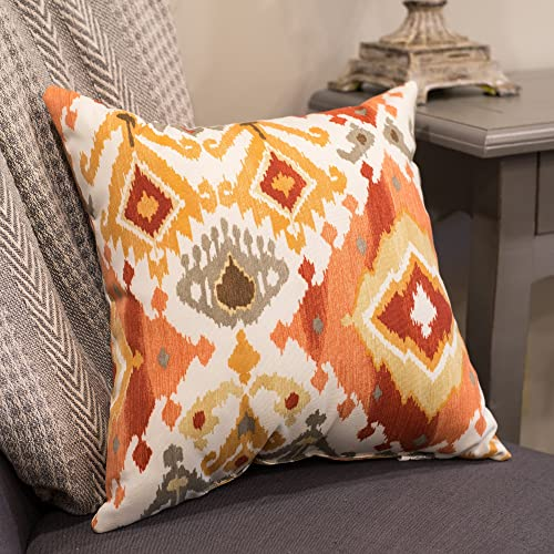 Lavezzi Paprika Ikat Burnt Orange and Red 16 x 16 Indoor Outdoor Throw Pillow – Pack of 2